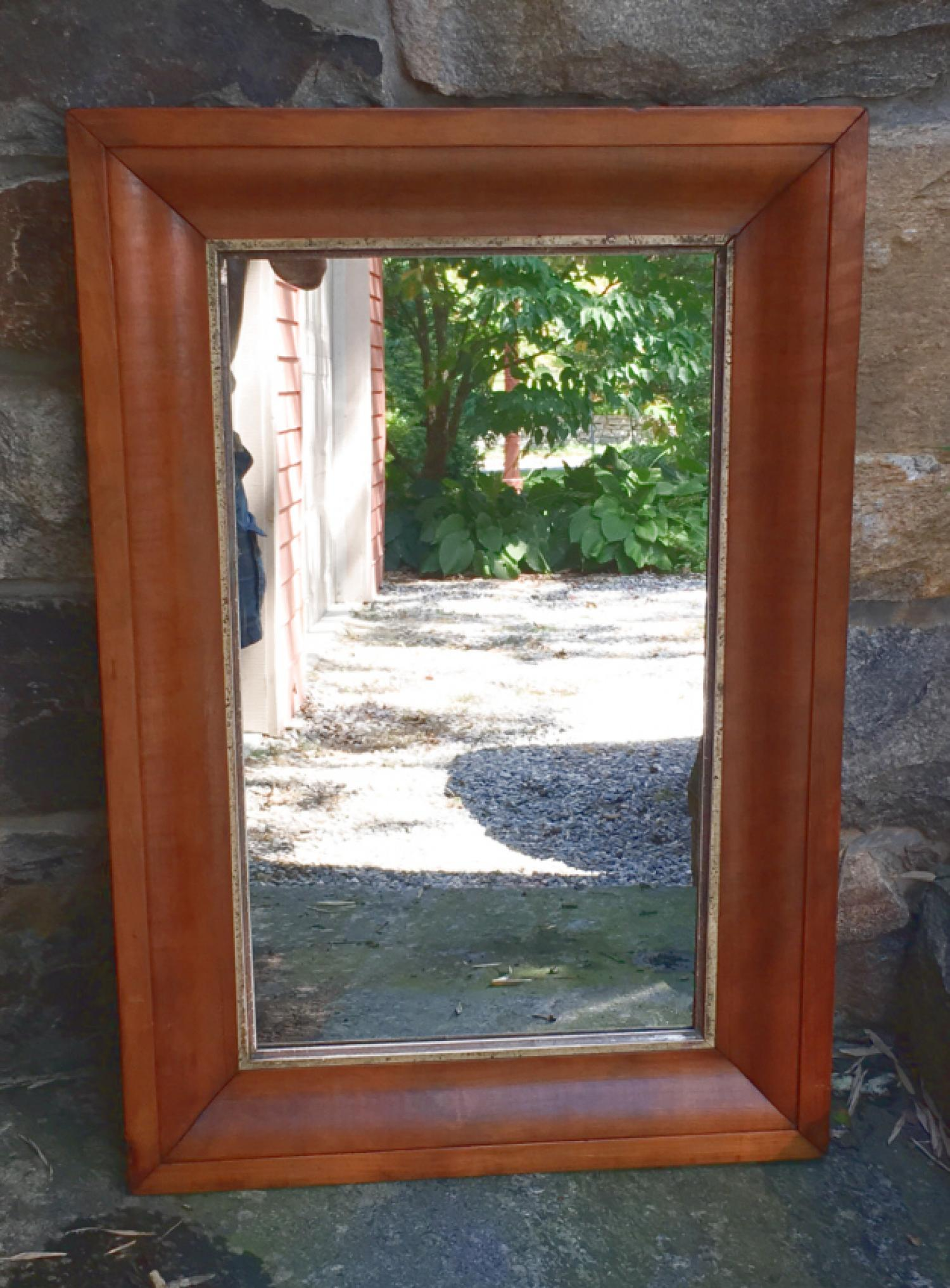 Antique pine wall mirror New England c1840