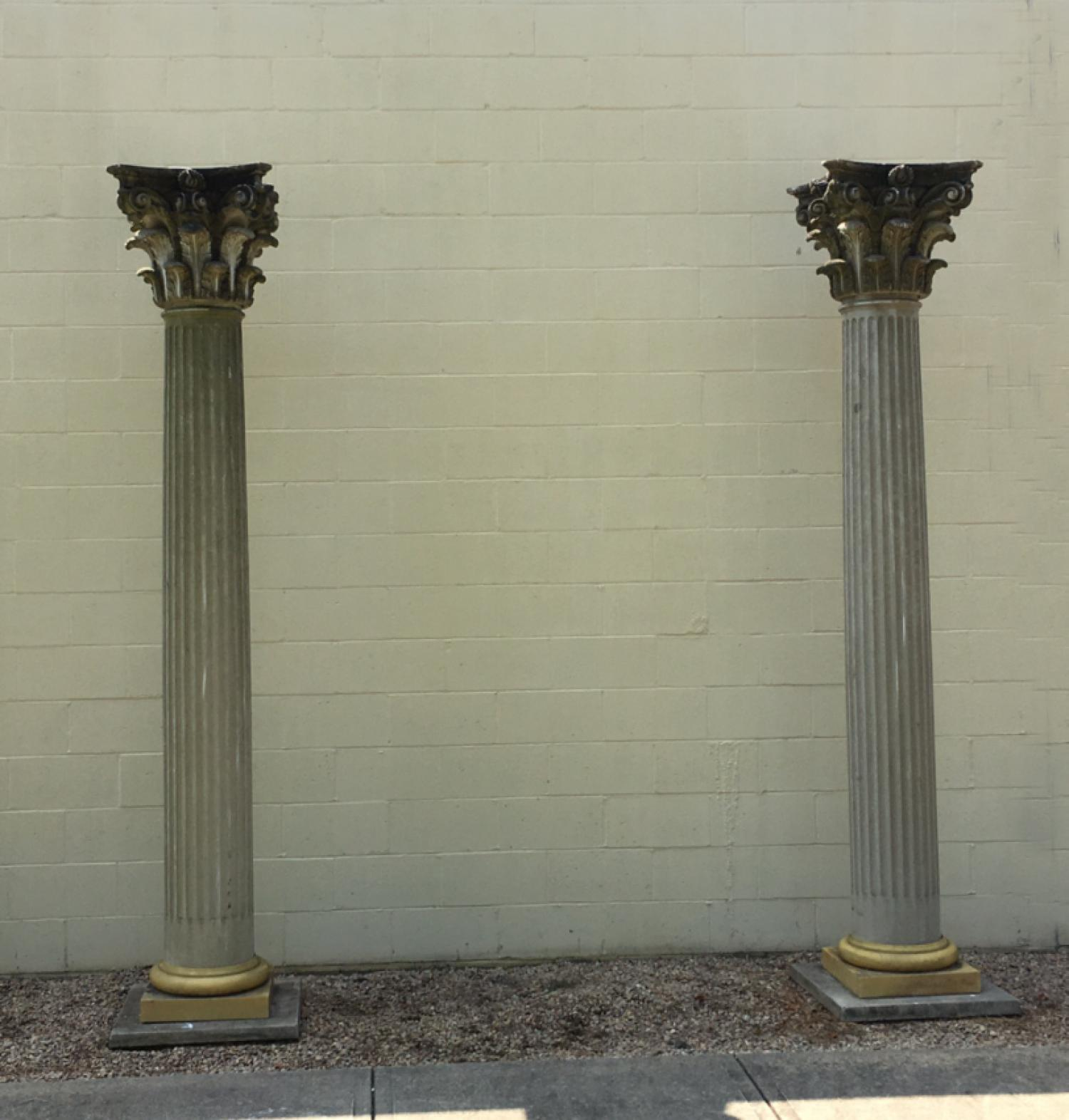 Pair of large vintage Corinthian fluted columns