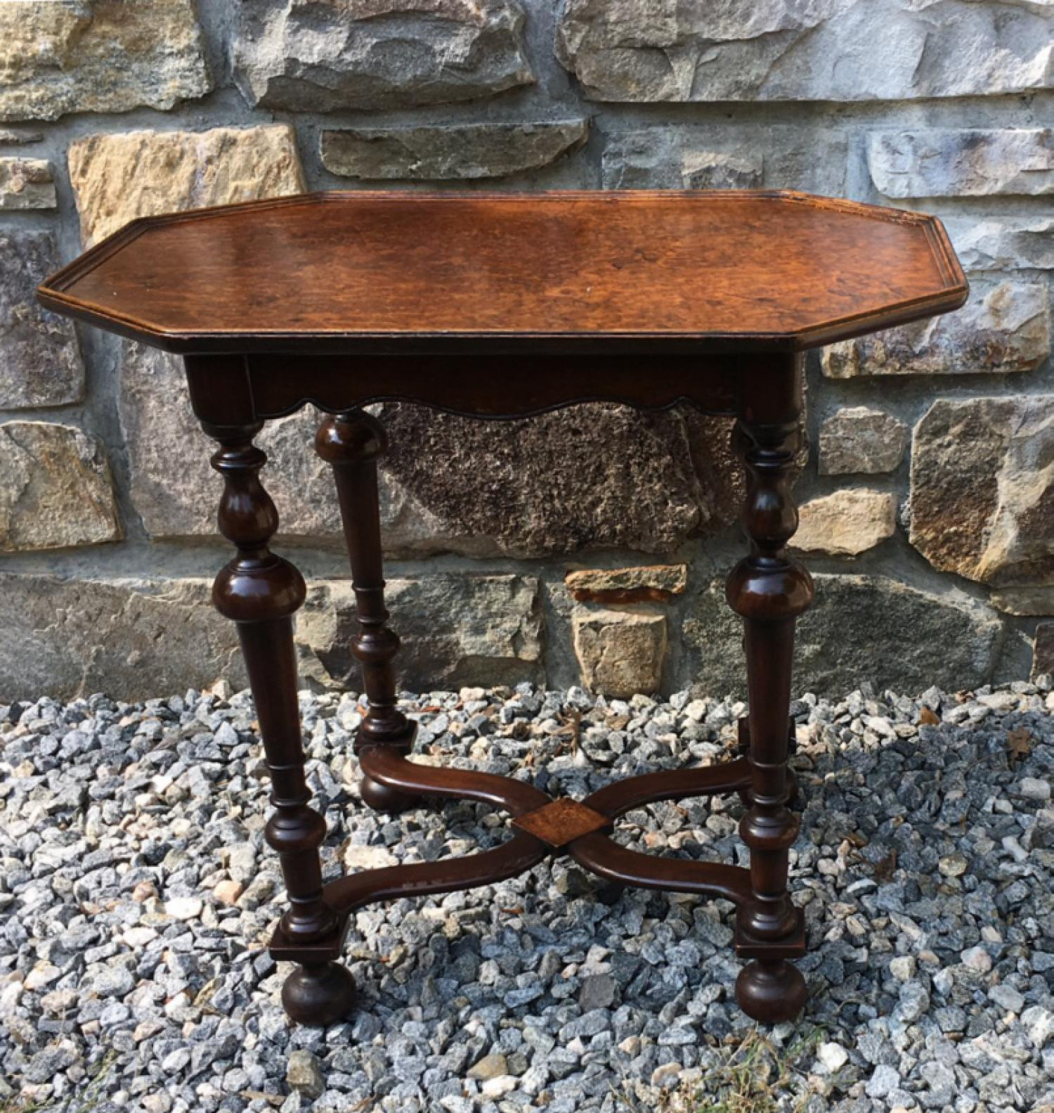 Vintage English tray top coffee table with burl elm top c1900