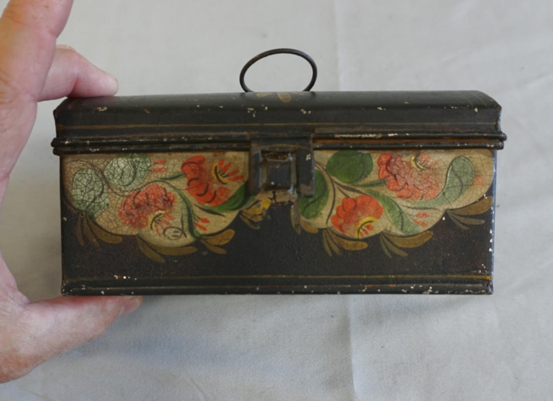 18th c Upson Shop painted tin box