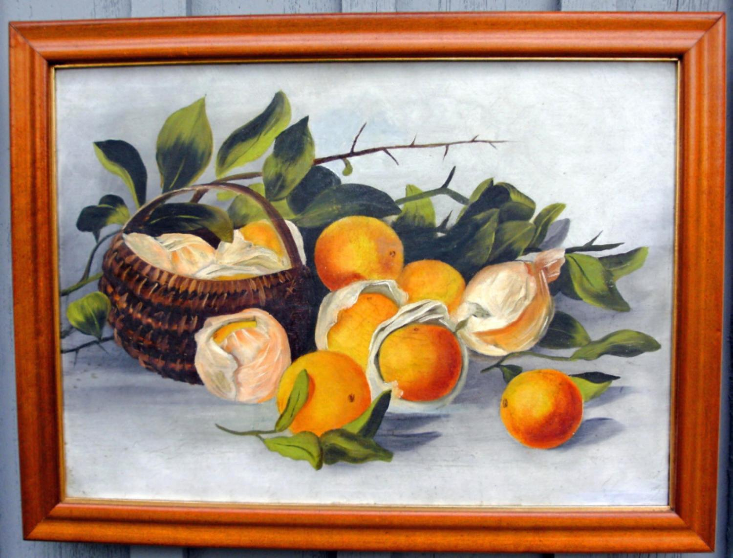 American primitive still life painting of wrapped oranges