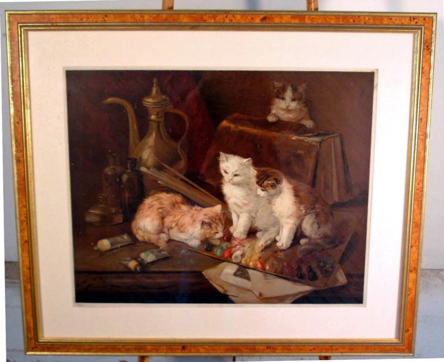 19th c kittens chromolithograph of classic Brunelli painting
