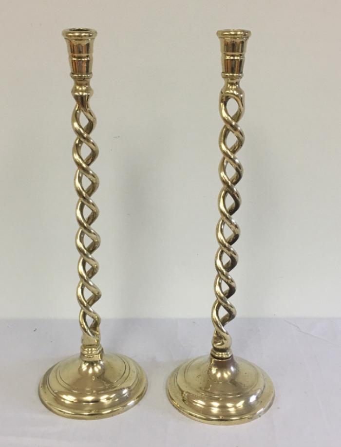 Tall English brass barley twist candlesticks