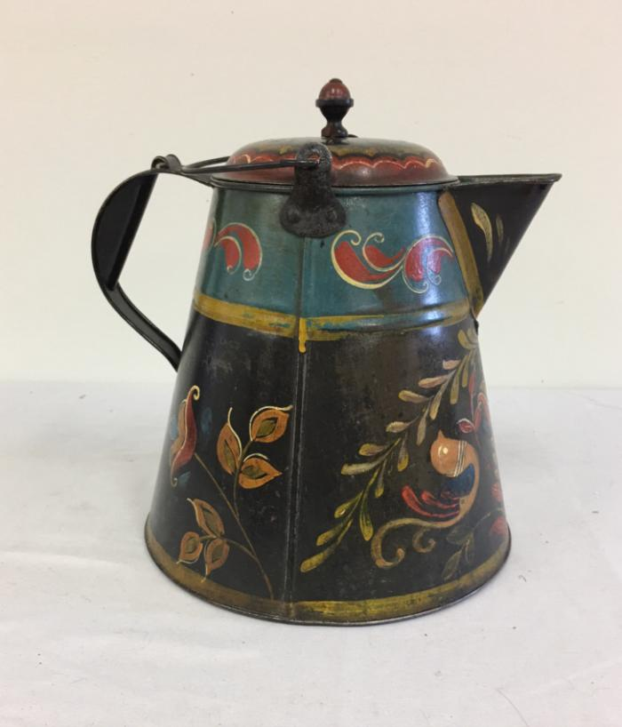 19th c painted tin kettle from Pennsylvania