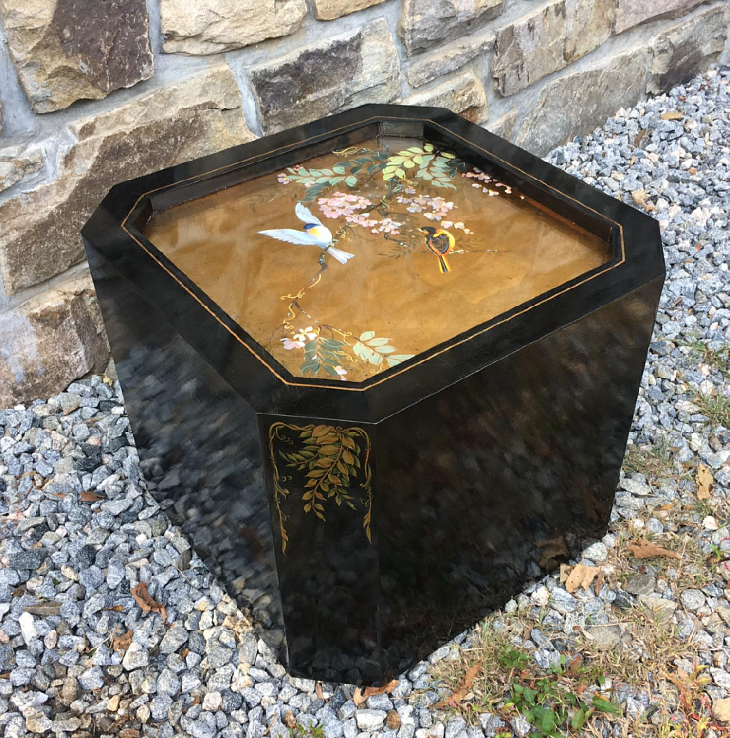 Chinoiserie style lacquer cube table signed R Vanderhill