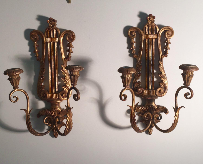 Vintage Palladio gilt wood candle sconces c1930