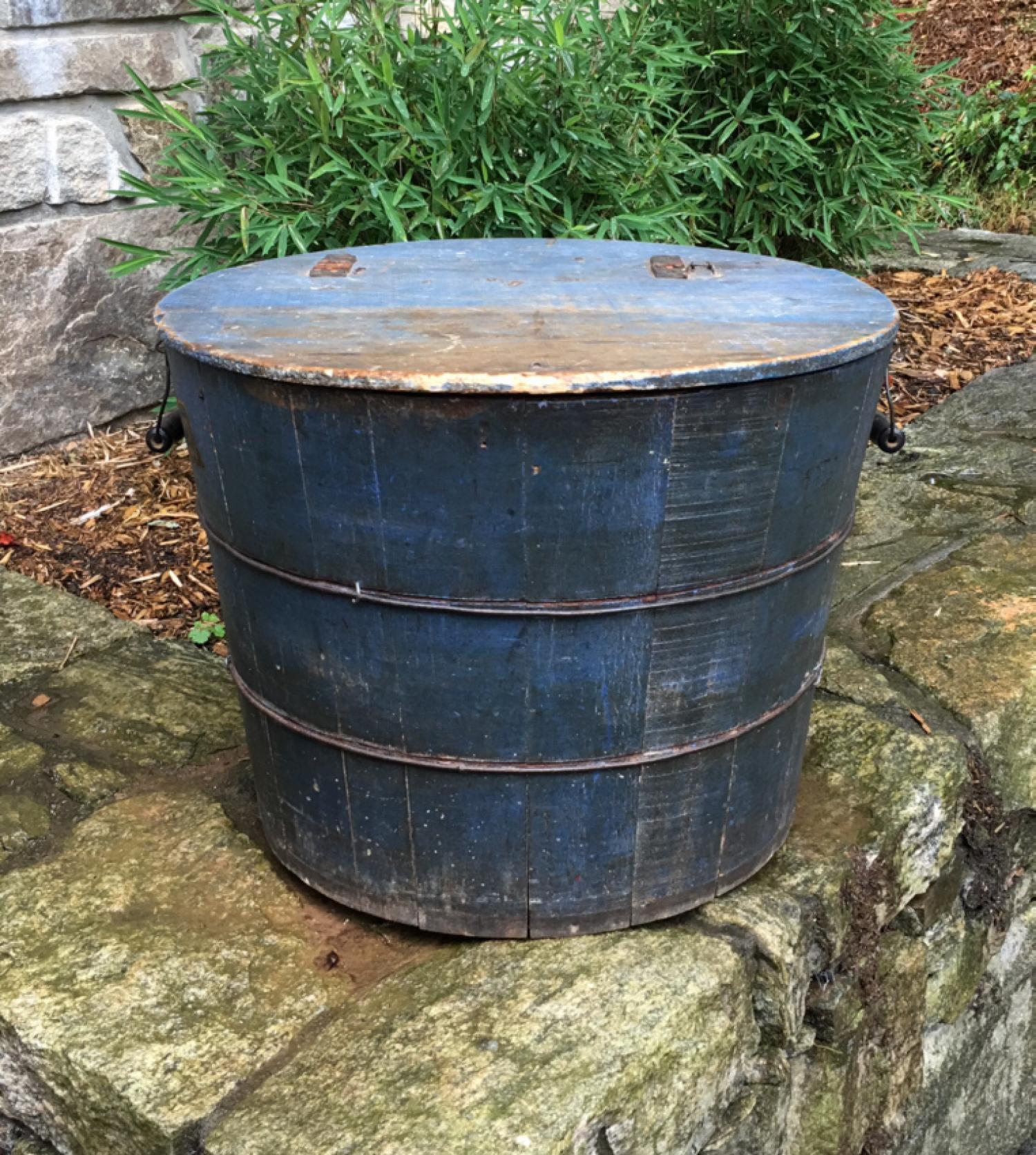 Antique wooden bucket in original blue paint c1900