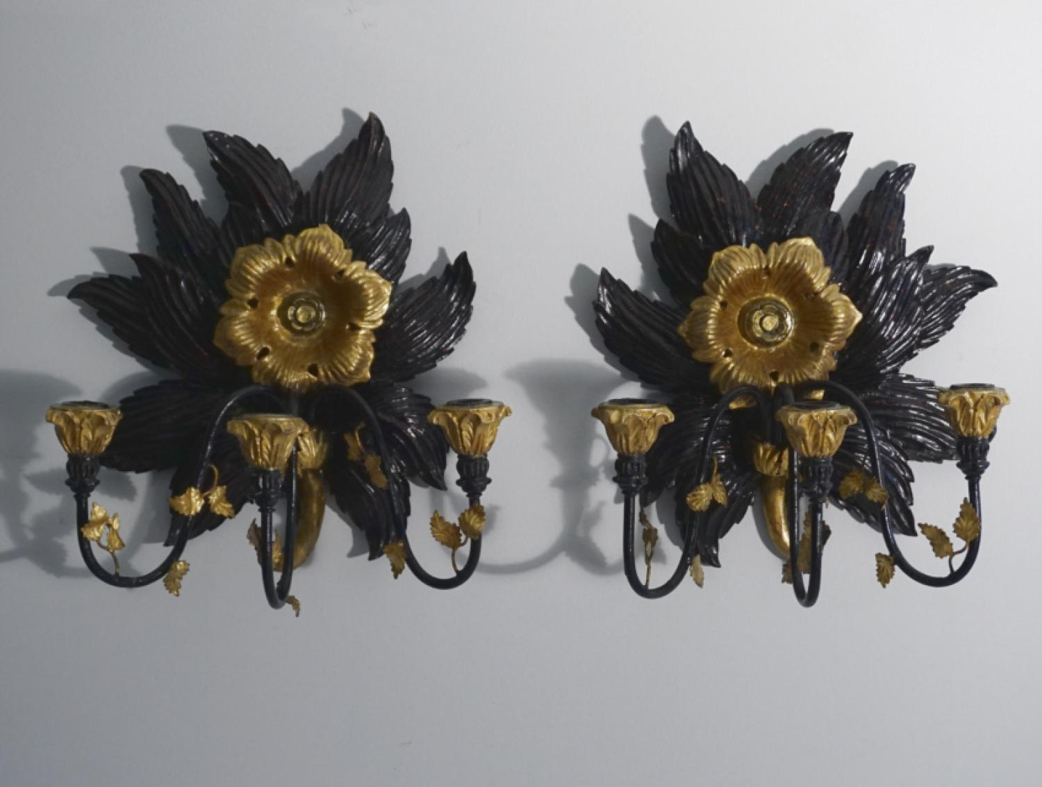 Sunflower gilt wood candle sconces c1900