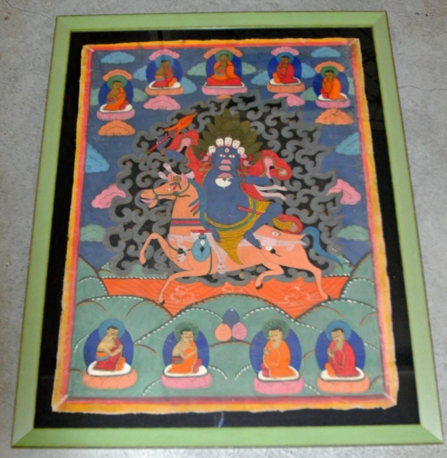 19th Century Tibetan Thanka painting on canvas c1850