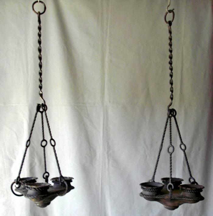 Hand crafted Addison Mizner School wrought iron lanterns c1920