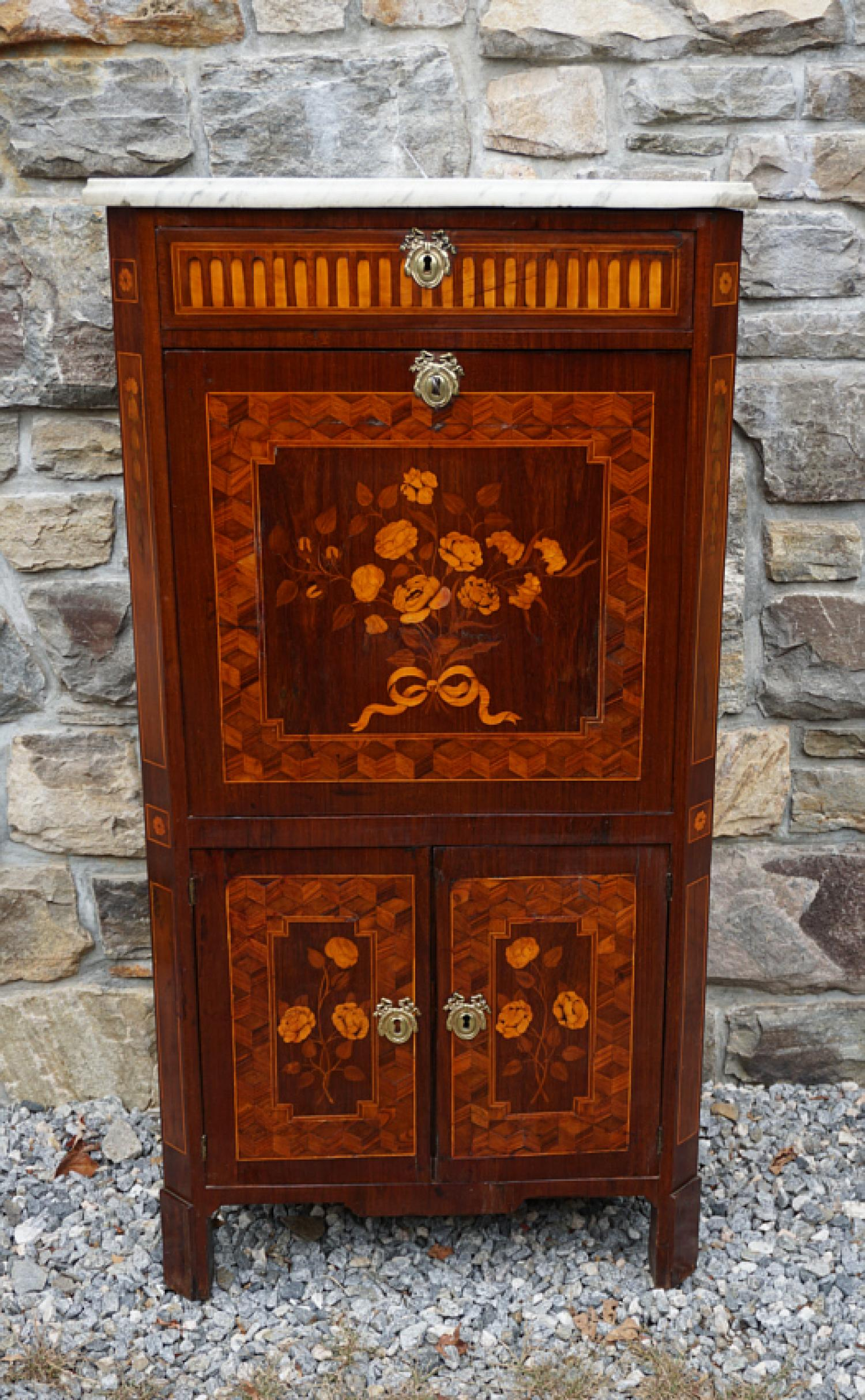 Antique French secretaire abattant with floral inlay c1850