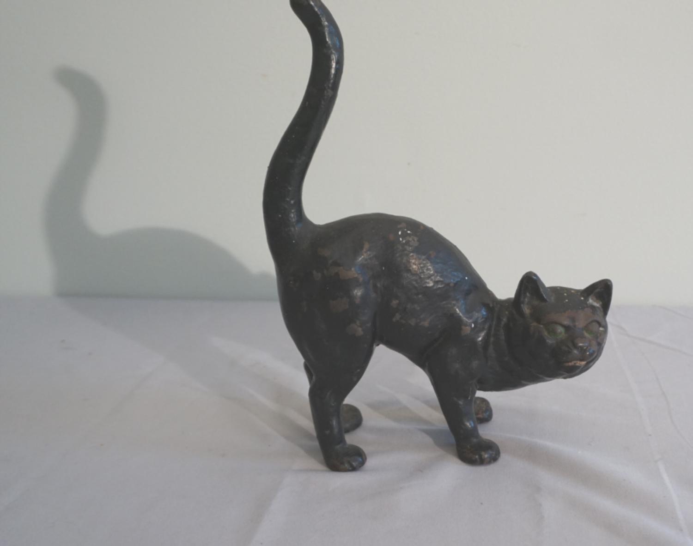 Antique painted cast iron cat door stop c1900