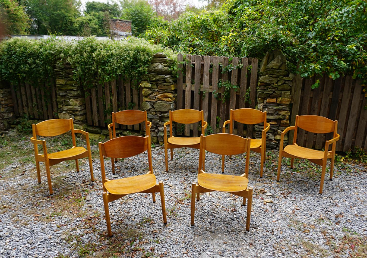 Jens Risom mid century modern chairs of molded plywood