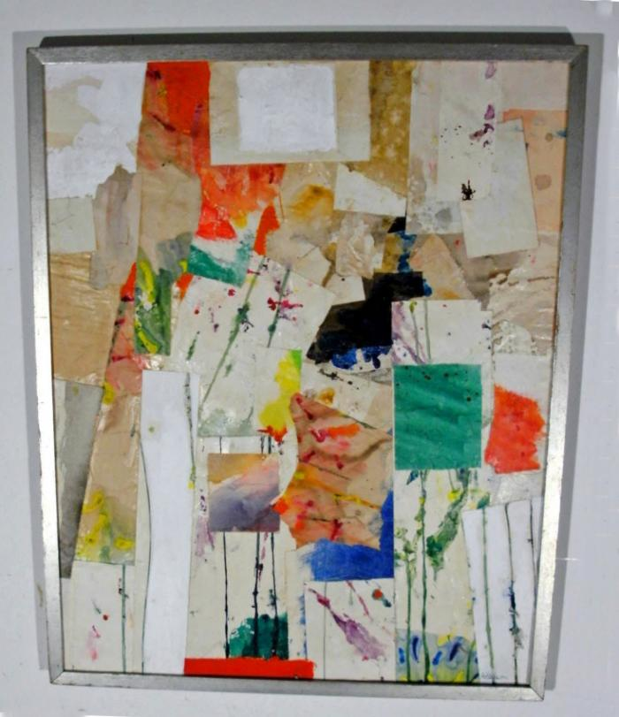 Carl Gustaf Nelson abstract expressionist mixed media collage c1950