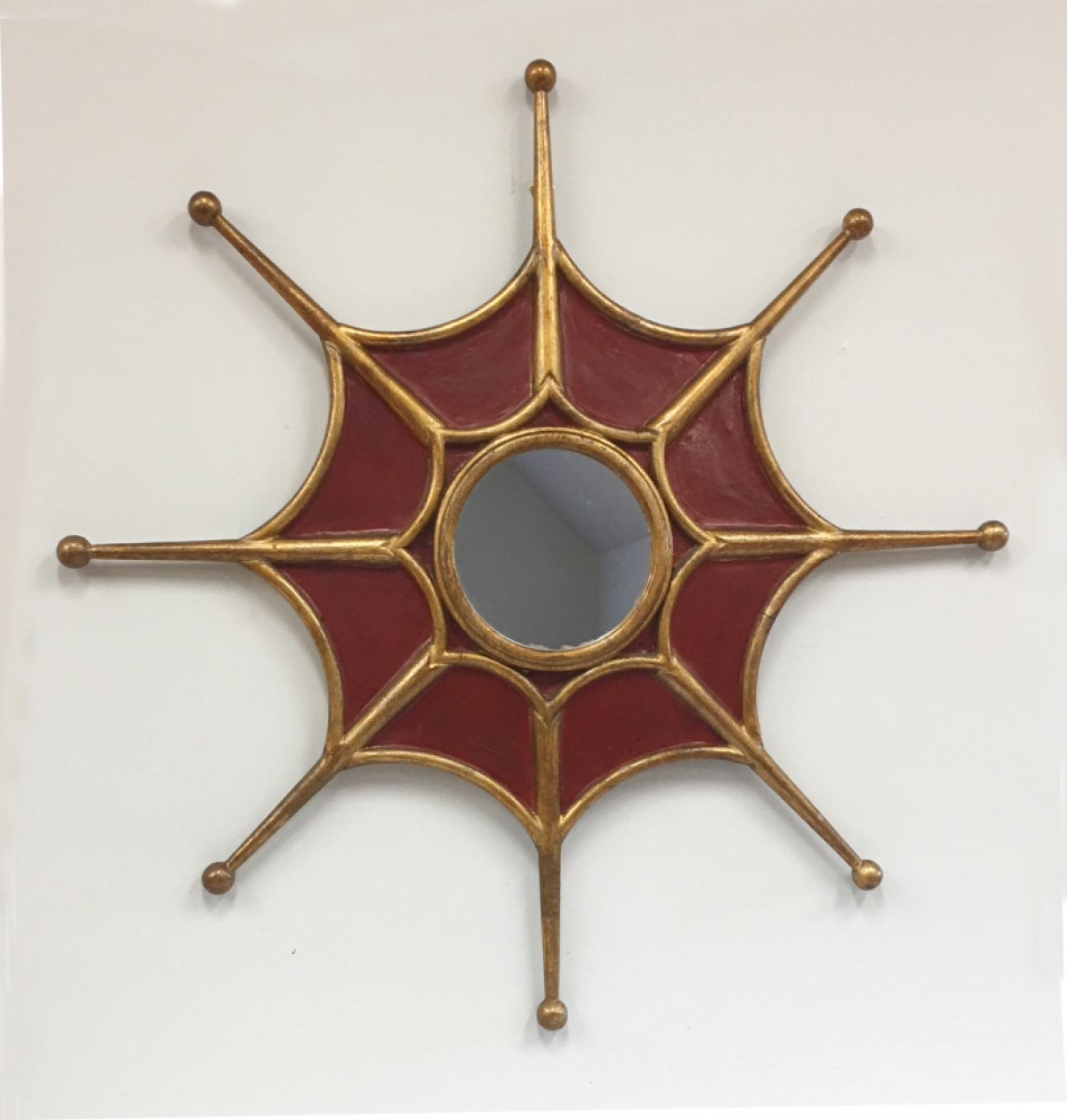 Vintage mid century corona motif mirror c1960