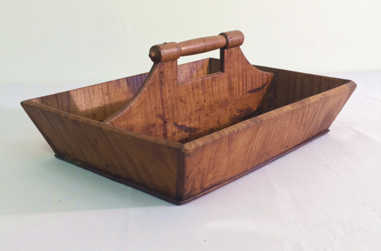 Antique tiger maple cutlery tray c1830