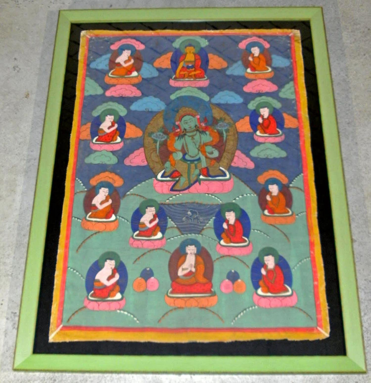 19th Century Tibetan Tangka painting on canvas