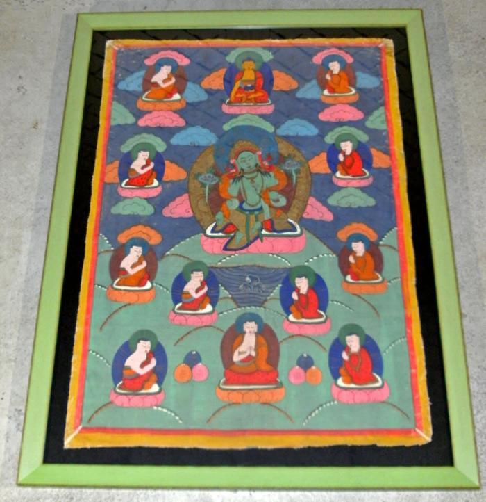 19th Century Tibetan Tangka painting on canvas