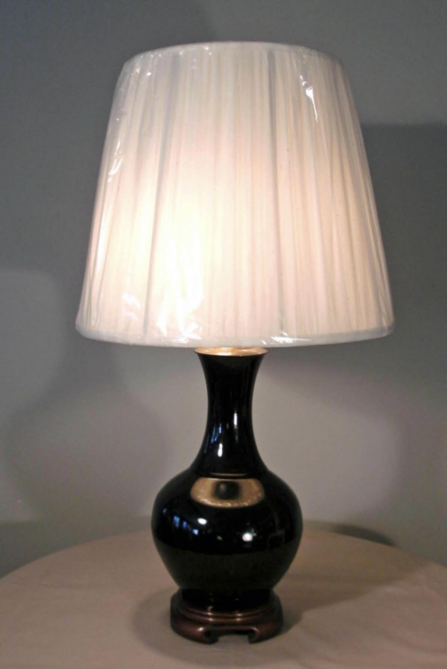 19th Century Chinese Famille Noir vase lamp c1850