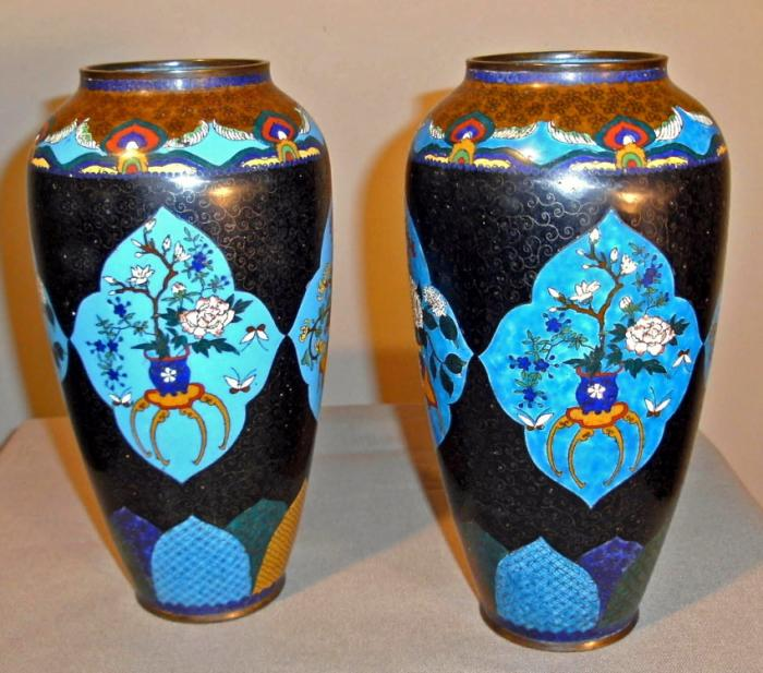 Antique Chinese blue cloisonne pair of vases c1870