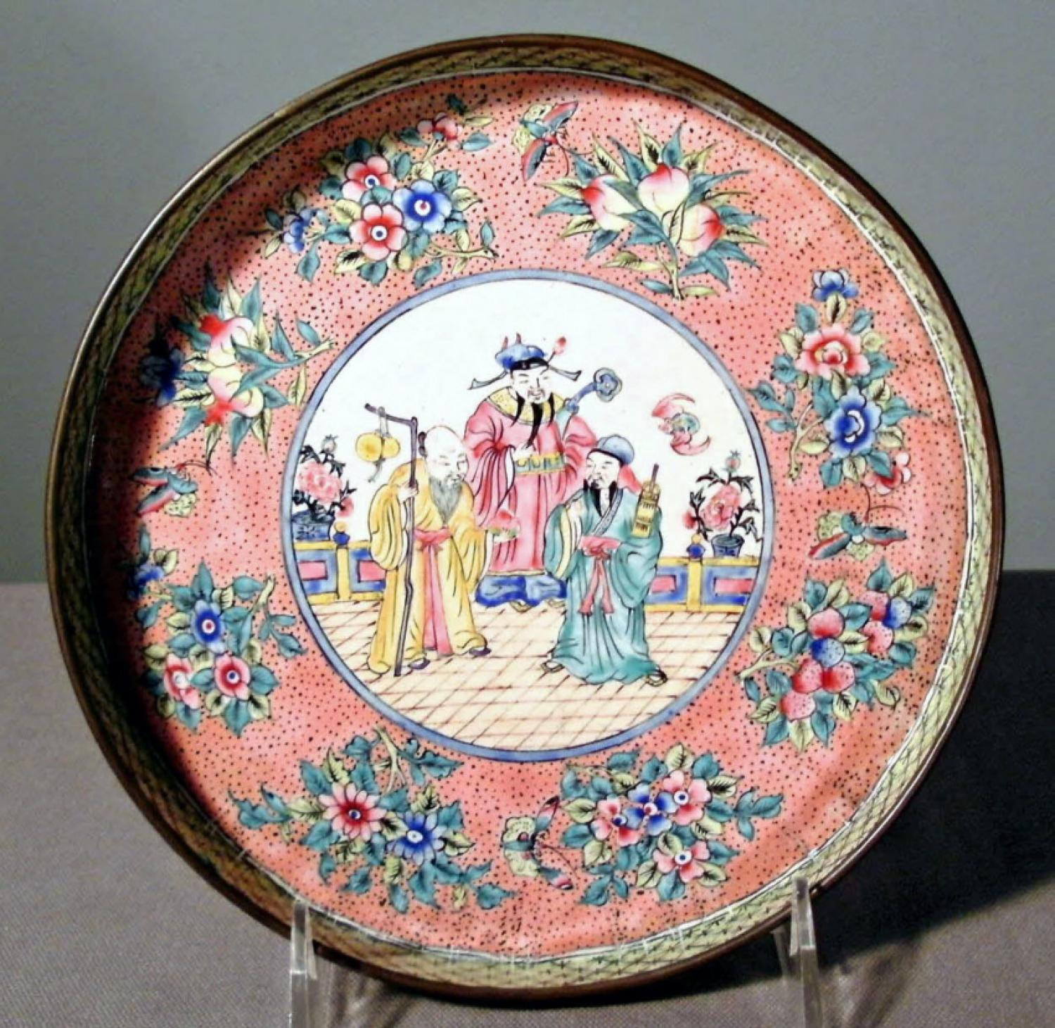 Chinese Canton enamel round-shaped tray c1850