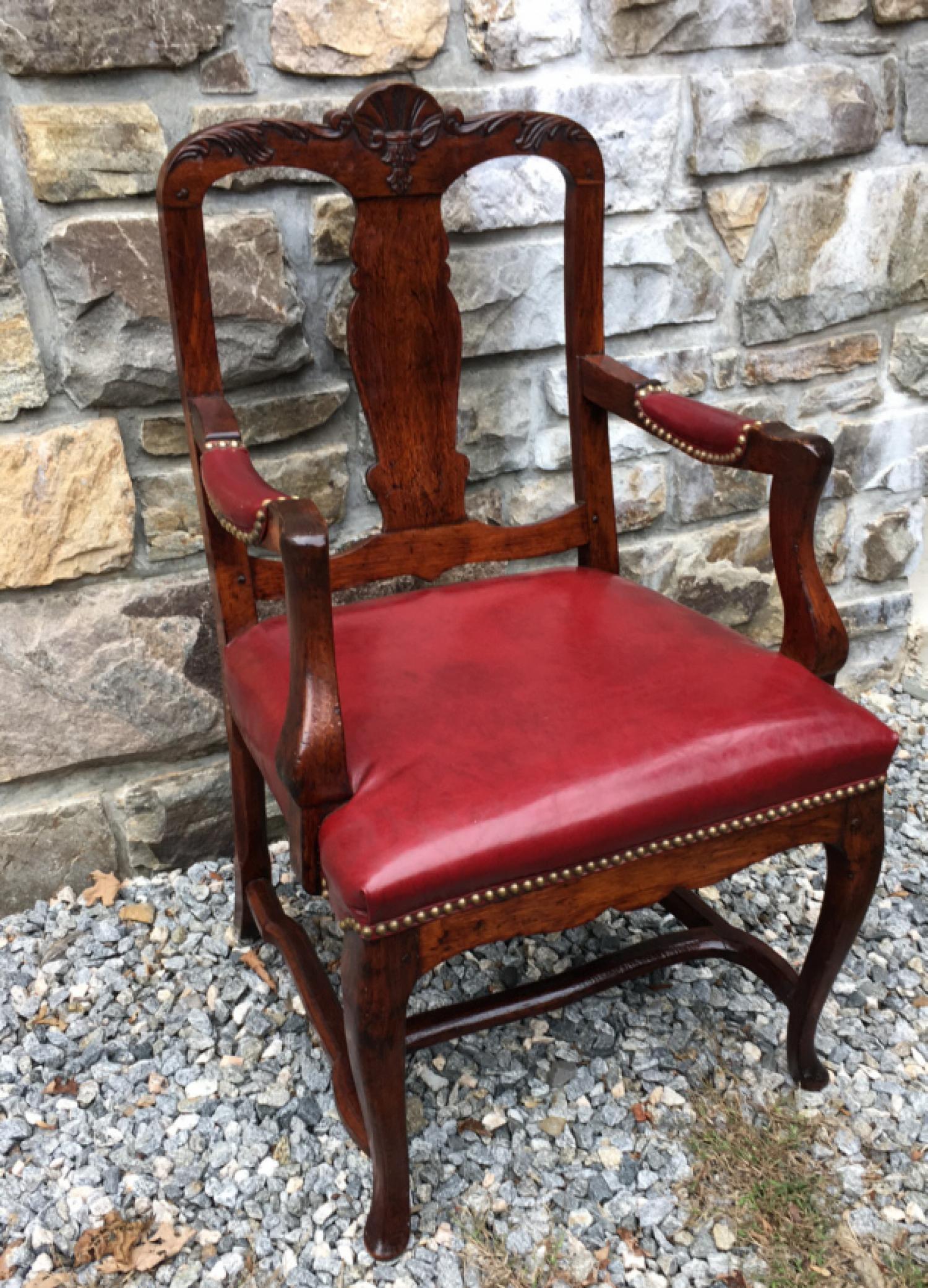 Antique English walnut and leather desk chair c1885