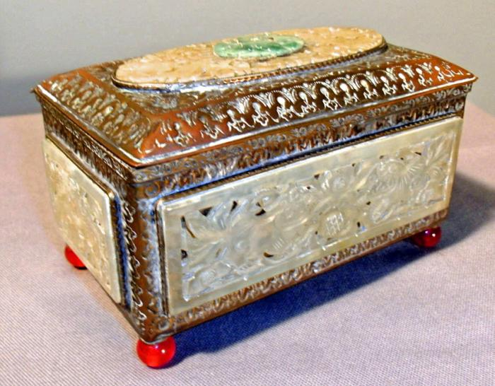 Antique Chinese brass and jade box c1880