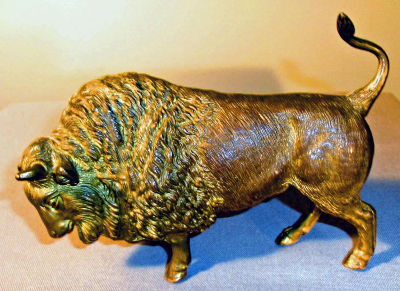 Grand Tour gilt cast bronze bull c1900