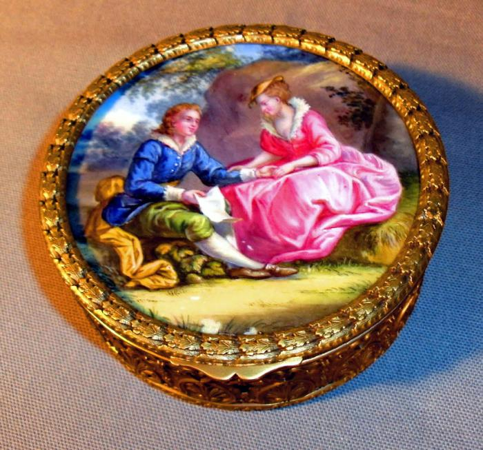 French porcelain gilt bronze master snuff or valuables box c1850
