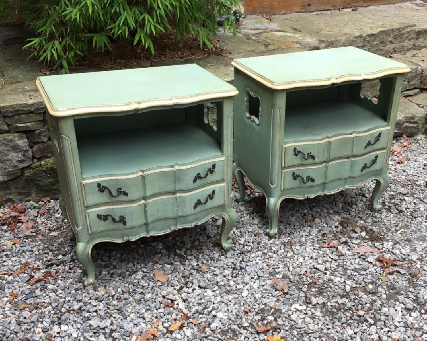 Pair of vintage night stands in original blue paint
