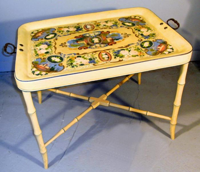 Continental hand painted tole tray on stand c1880