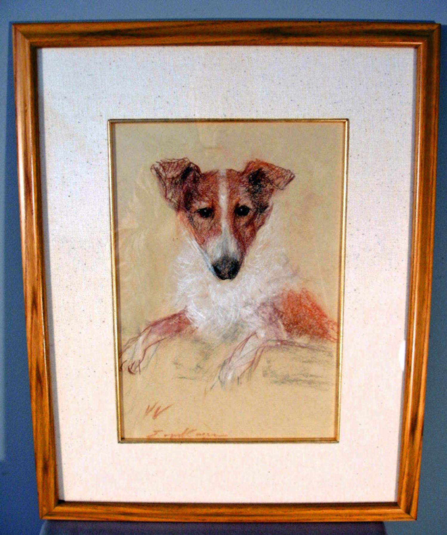 Erica Von Kager pastel portrait of a miniature collie