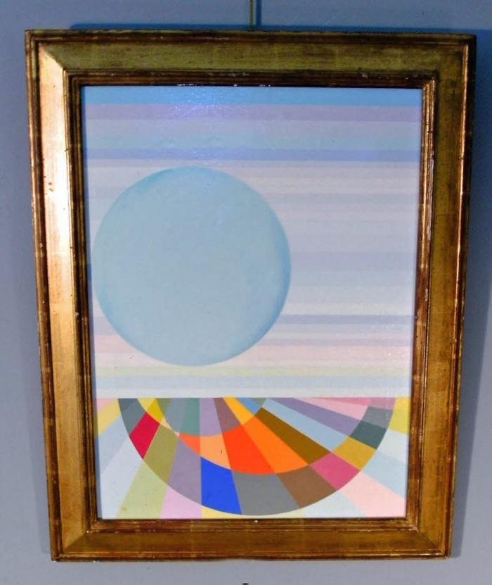 Geometric abstract lunarscape painting by Michiel Gloeckner