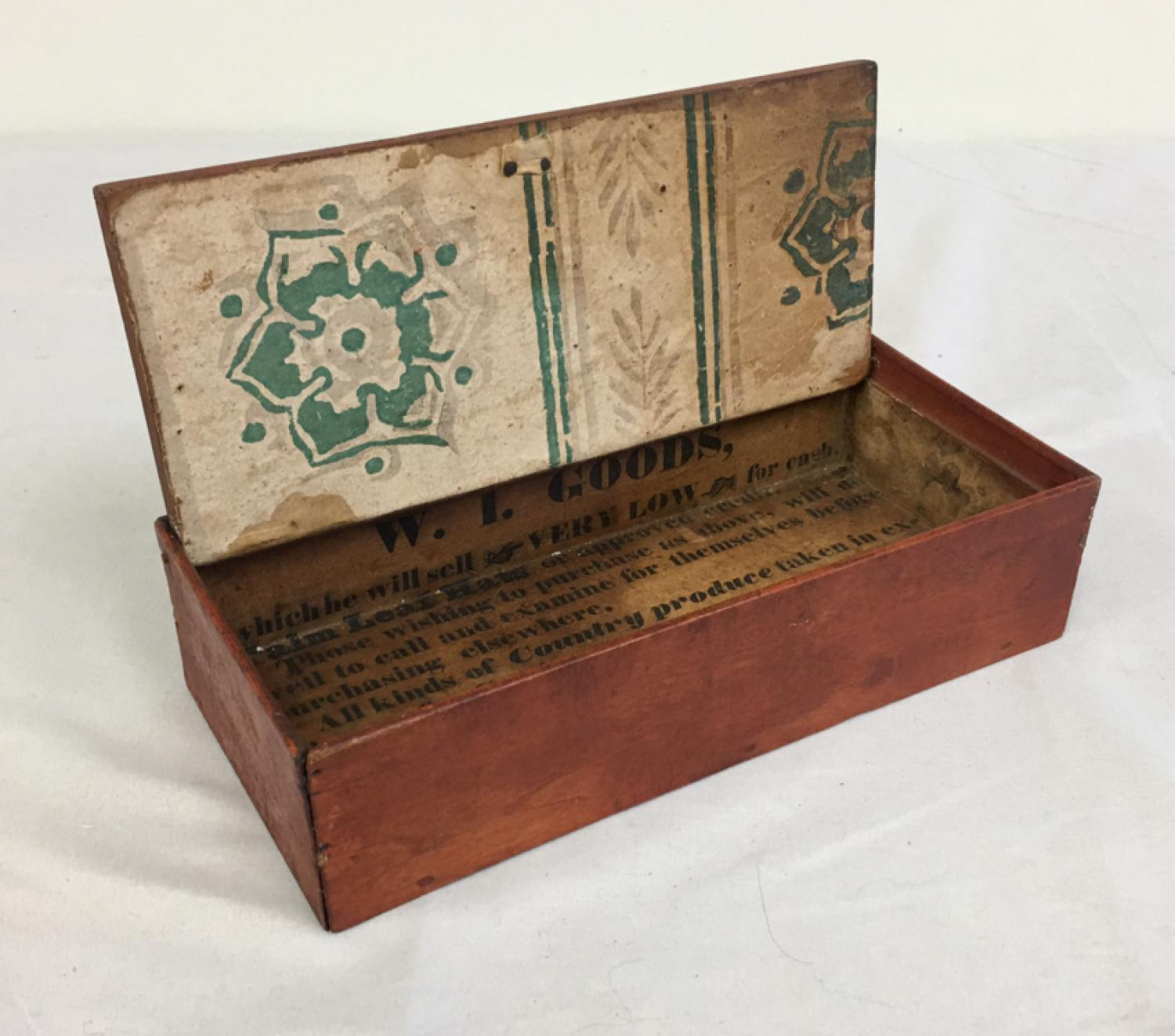 Early Massachusetts advertising box with red wash