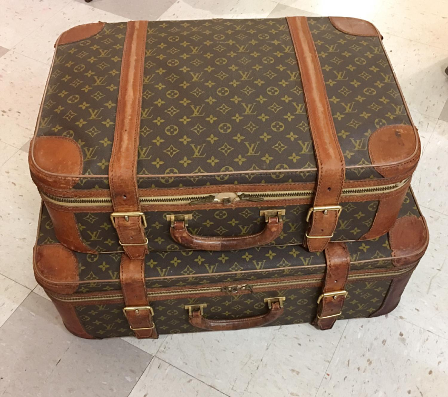 Pair of vintage Louis Vuitton valises