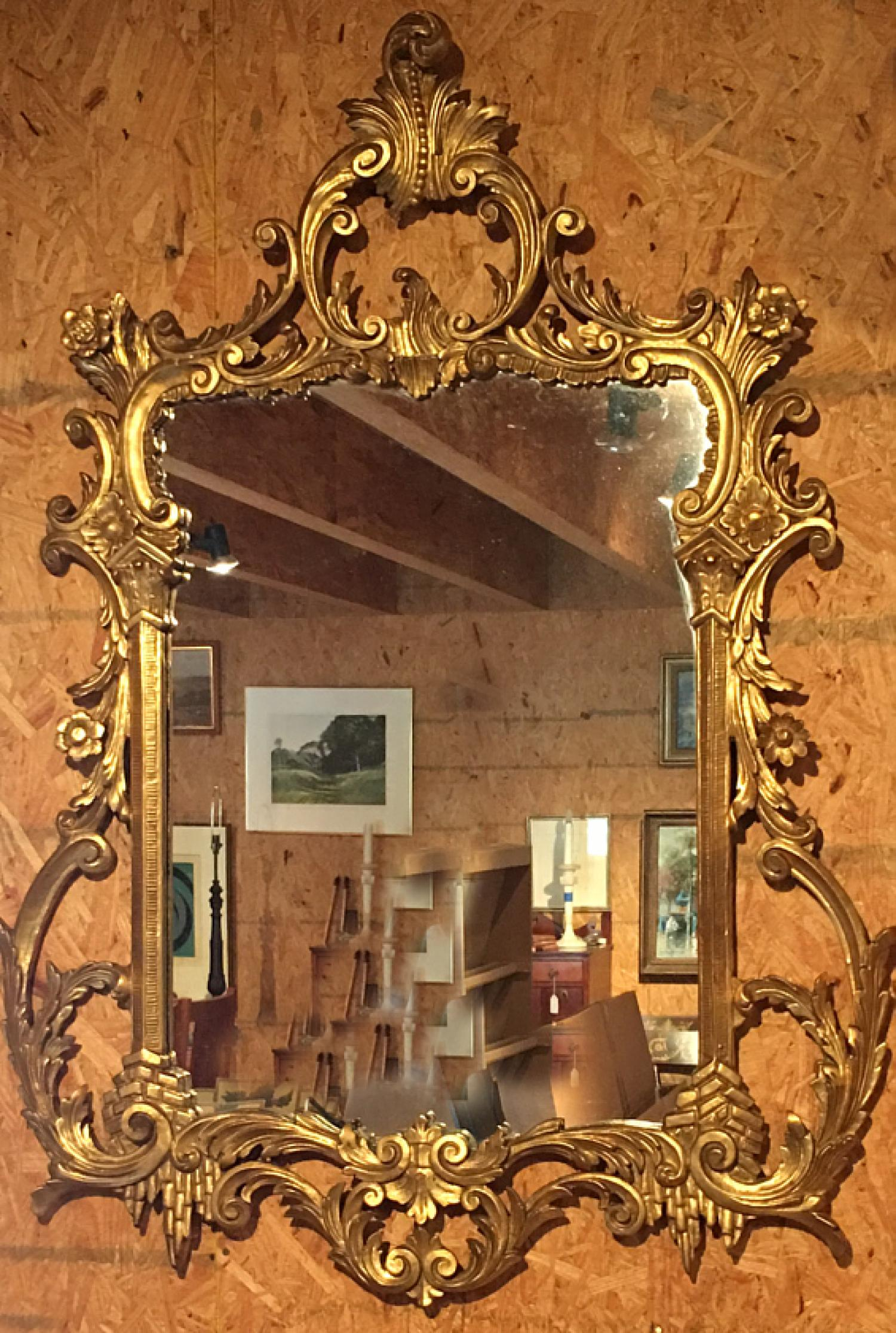 Vintage 20thc Italian hand carved gilt wall mirror