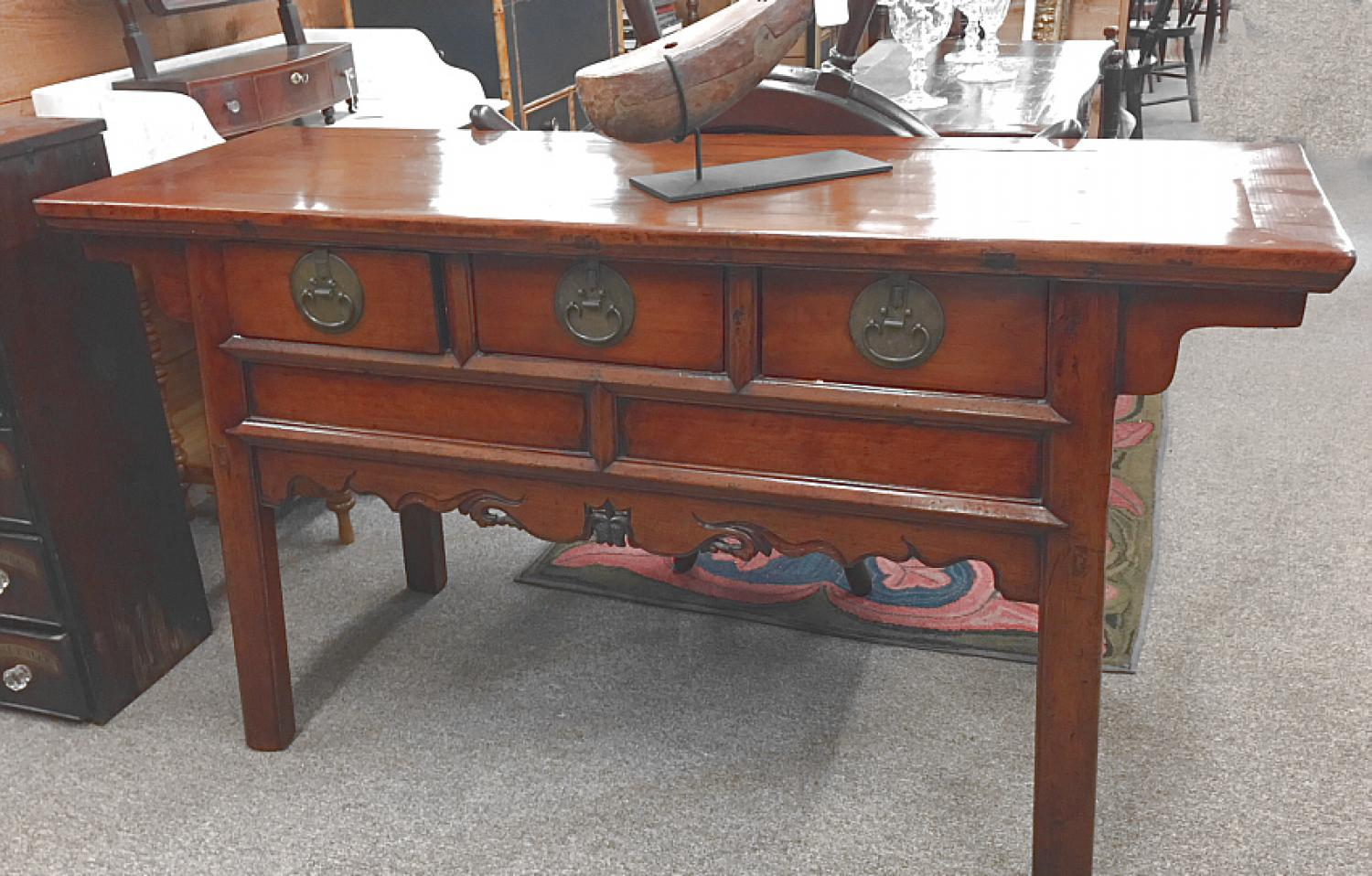 Chinese elm 3 drawer coffer in Classic Ming style c1900