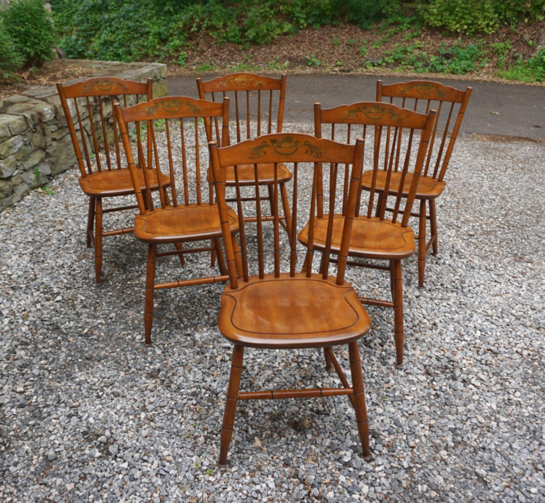 Six maple Hitchcock chairs c1950