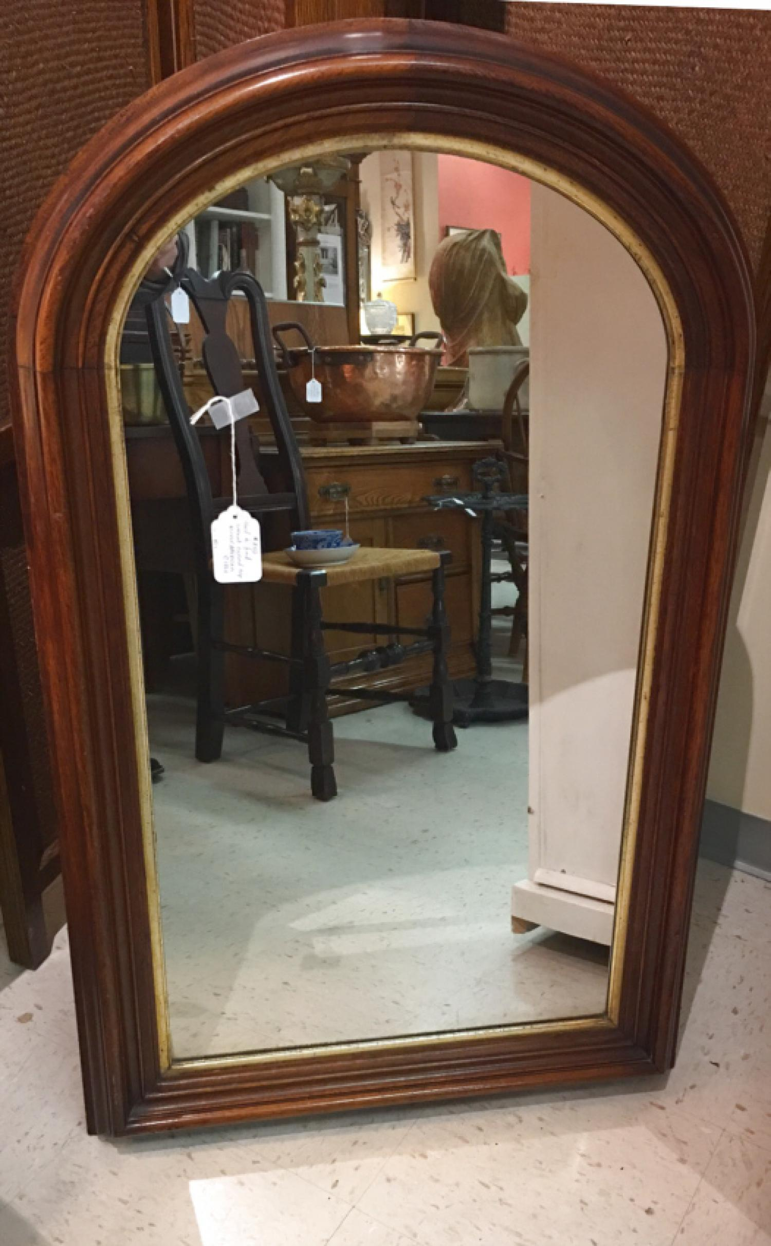 American Victorian walnut arch top mirror c1870