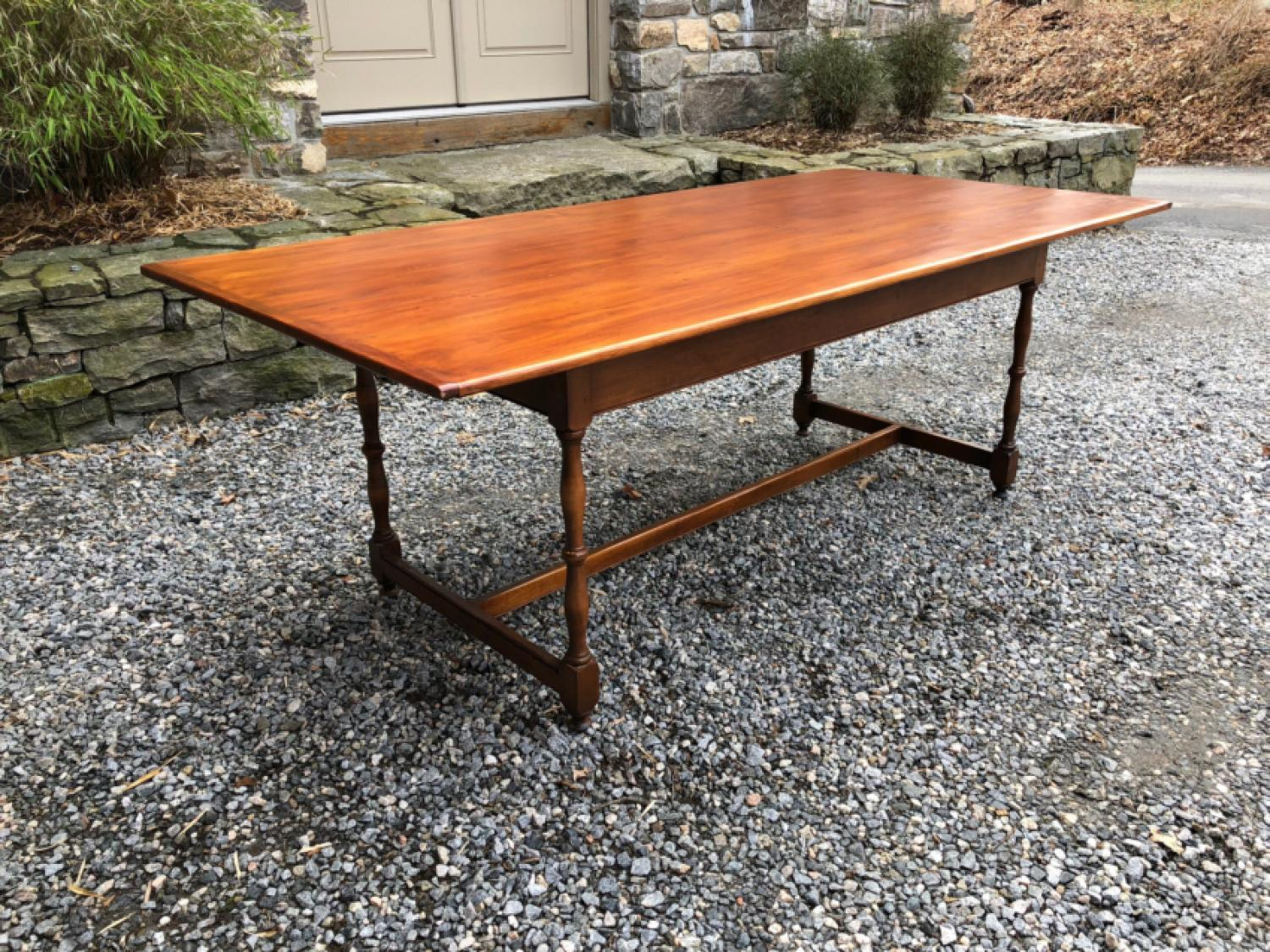 D R Dimes cherry and maple country dining table