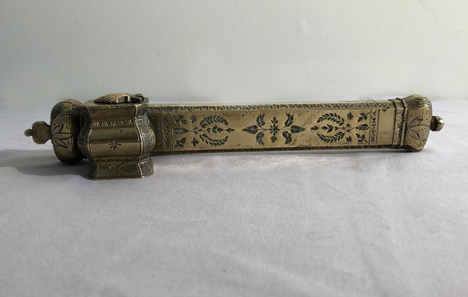 Ottoman scribes brass travel inkwell and pen holder c1860