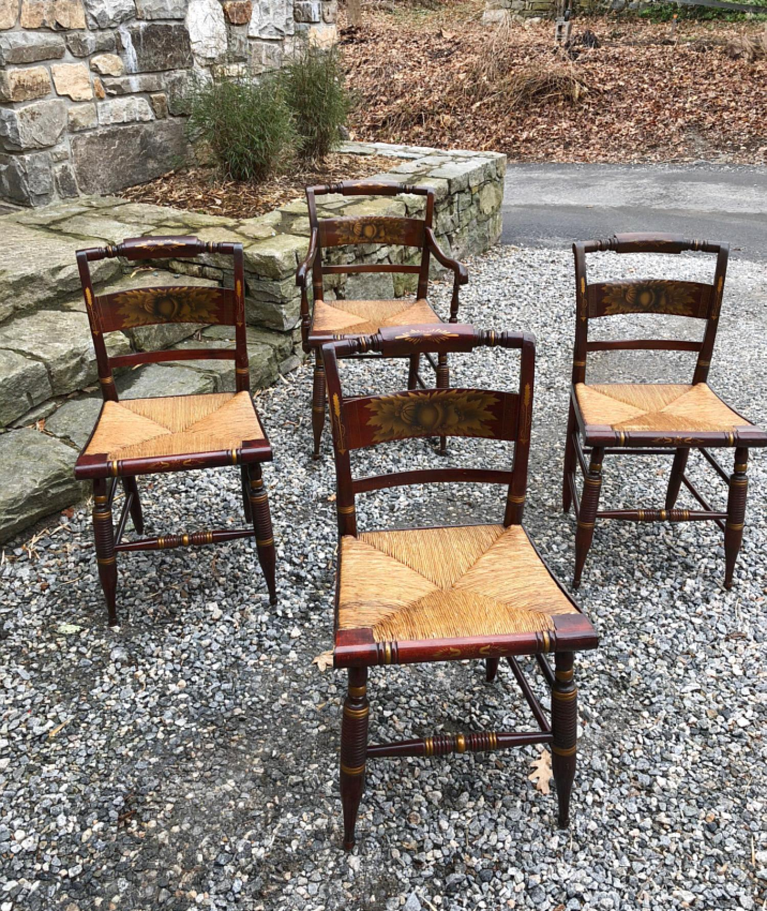 Vintage set of 4 Hitchcock dining chairs